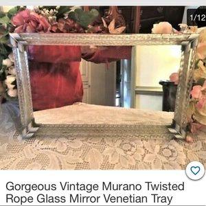 Vtg Murano Twisted Rope Glass Mirror Venetian Tray